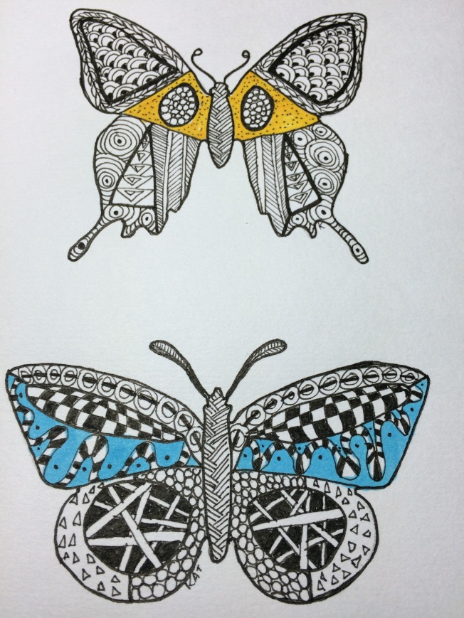 butterfly on top, moth on bottom