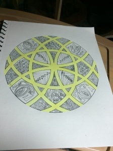 Yellow added to the Mandala, using a Copic pen.
